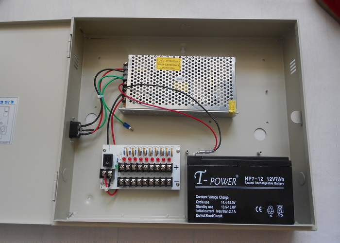12VDC 10AMP 9CH Boxed CCTV Power Supply With Battery